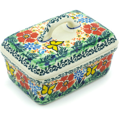 "Polish Pottery Butter Dish 5"" Yellow Butterfly Garden UNIKAT"