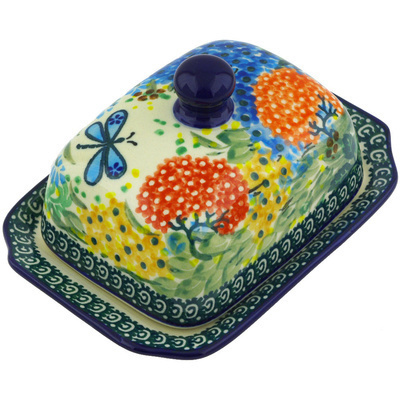 "Polish Pottery Butter Dish 6"" Garden Delight UNIKAT"