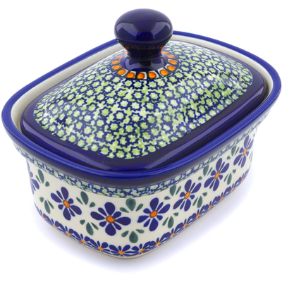 "Polish Pottery Butter Dish 6"" Gingham Flowers"