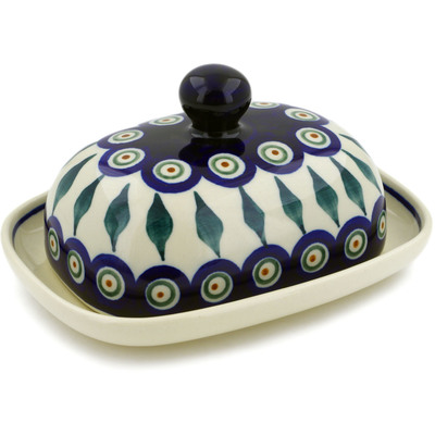 "Polish Pottery Butter Dish 6"" Peacock Leaves"
