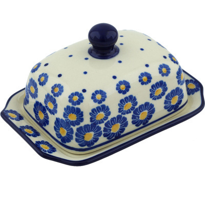 "Polish Pottery Butter Dish 6"" Wreath Of Blue"