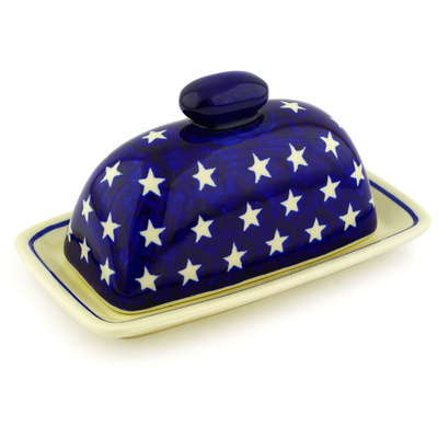 "Polish Pottery Butter Dish 7"" America The Beautiful"