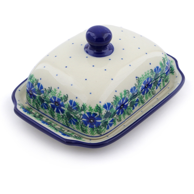"Polish Pottery Butter Dish 7"" Blue Bell Wreath"
