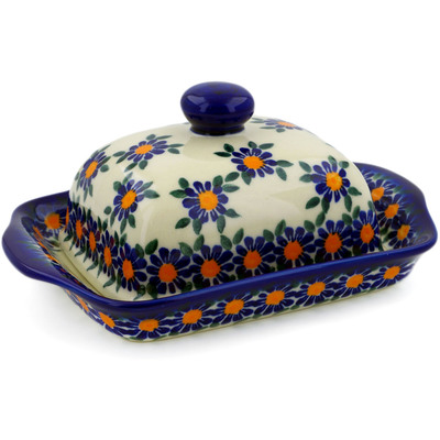 "Polish Pottery Butter Dish 7"" Blue Daisy UNIKAT"