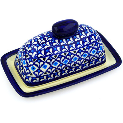 "Polish Pottery Butter Dish 7"" Blue Diamond Dream"