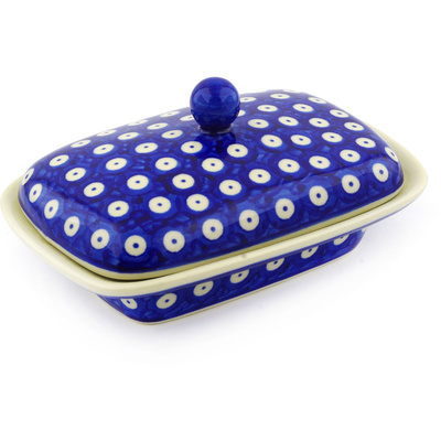 "Polish Pottery Butter Dish 7"" Blue Eyed Peacock"
