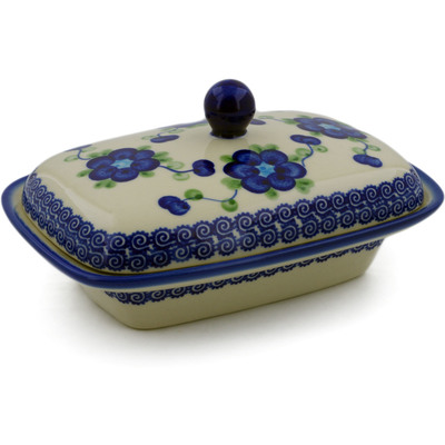 "Polish Pottery Butter Dish 7"" Blue Poppies"