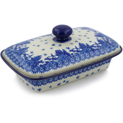 "Polish Pottery Butter Dish 7"" Blue Winter"