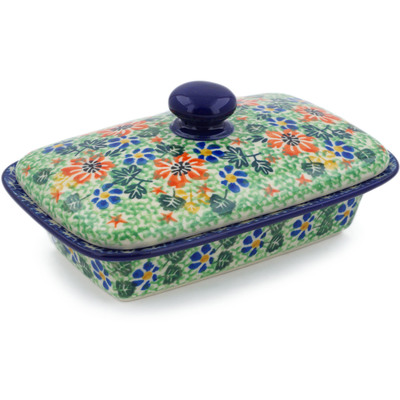 "Polish Pottery Butter Dish 7"" Floral Country UNIKAT"