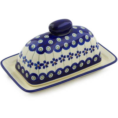 "Polish Pottery Butter Dish 7"" Flowering Peacock"