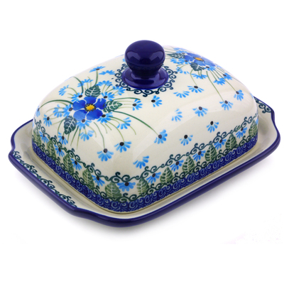 "Polish Pottery Butter Dish 7"" Forget Me Not"