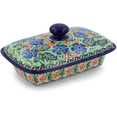 "Polish Pottery Butter Dish 7"" Hand In Hand UNIKAT"