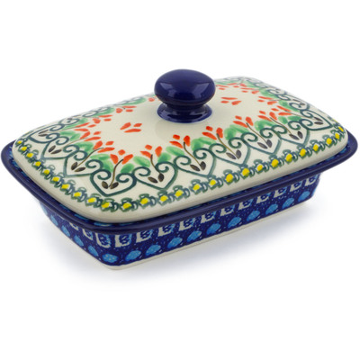 "Polish Pottery Butter Dish 7"" Heart Vines UNIKAT"