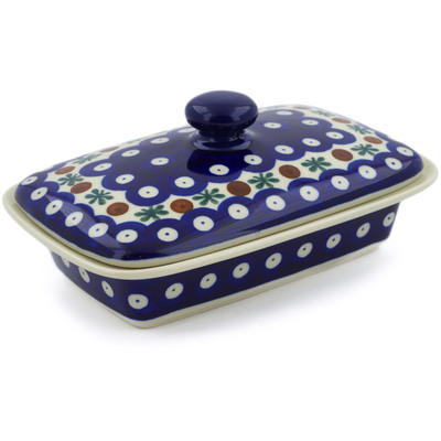 "Polish Pottery Butter Dish 7"" Mosquito"