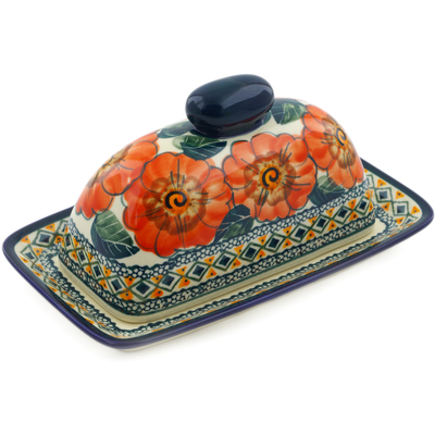 "Polish Pottery Butter Dish 7"" Peach Poppies UNIKAT"
