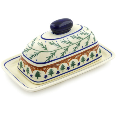 "Polish Pottery Butter Dish 7"" Pine Boughs"