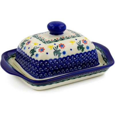 "Polish Pottery Butter Dish 7"" Spring Flowers UNIKAT"
