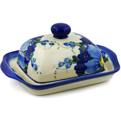 "Polish Pottery Butter Dish 7"" UNIKAT"