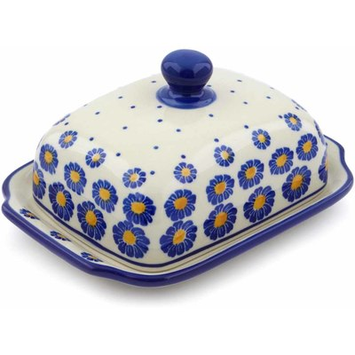 "Polish Pottery Butter Dish 7"" Wreath Of Blue"