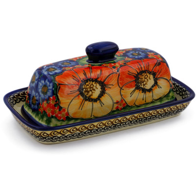 "Polish Pottery Butter Dish 8"" Bright Beauty UNIKAT"