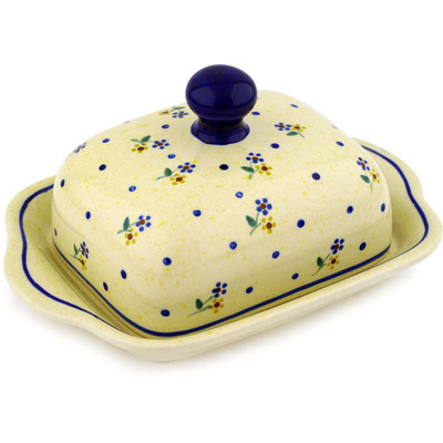"Polish Pottery Butter Dish 8"" Country Meadow"