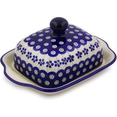 "Polish Pottery Butter Dish 8"" Flowering Peacock"