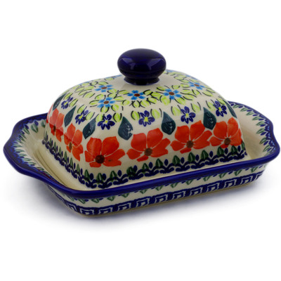 "Polish Pottery Butter Dish 8"" Grecian Fields"