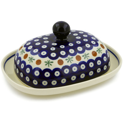 "Polish Pottery Butter Dish 8"" Mosquito"