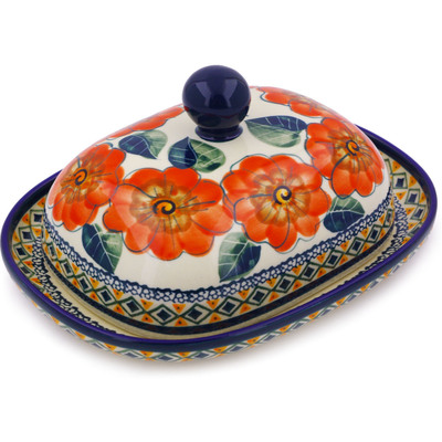 "Polish Pottery Butter Dish 8"" Peach Poppies UNIKAT"