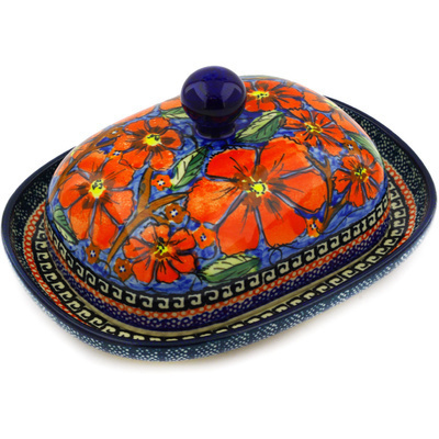 "Polish Pottery Butter Dish 8"" Poppies UNIKAT"