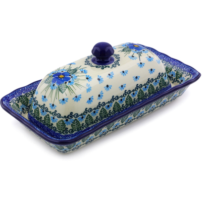 "Polish Pottery Butter Dish 9"" Forget Me Not"
