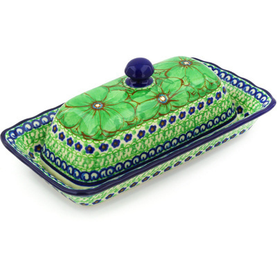 "Polish Pottery Butter Dish 9"" Key Lime Dreams UNIKAT"
