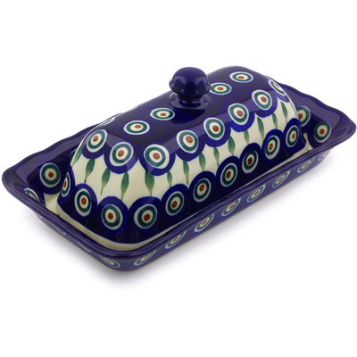 "Polish Pottery Butter Dish 9"" Peacock Leaves"
