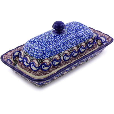 "Polish Pottery Butter Dish 9"" Peacock Yean Yang"