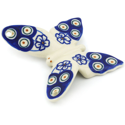 "Polish Pottery Butterfly Figurine 4"" Flowering Peacock"