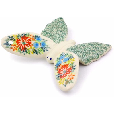 "Polish Pottery Butterfly Figurine 4"" Ring Of Flowers UNIKAT"