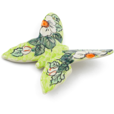 "Polish Pottery Butterfly Figurine 4"" White Flower Bouquet UNIKAT"
