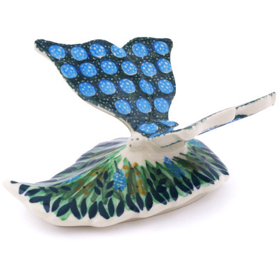 "Polish Pottery Butterfly Figurine 5"" Prairie Land UNIKAT"