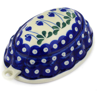 "Polish Pottery Cake Mould 7"" Bleeding Heart Peacock"