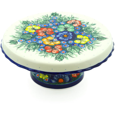 "Polish Pottery Cake Stand 11"" Summertime Blues UNIKAT"