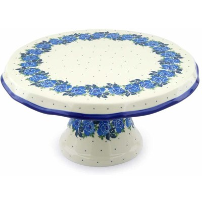 "Polish Pottery Cake Stand 12"" Blue Garland"