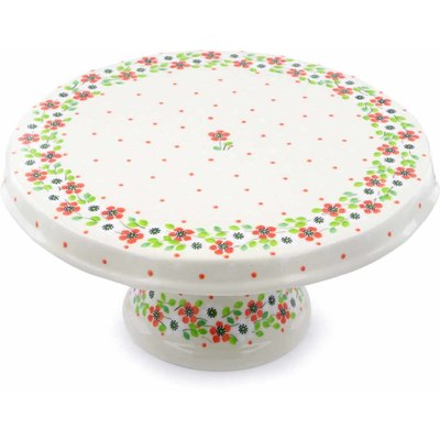 "Polish Pottery Cake Stand 12"" Poppy Seed"