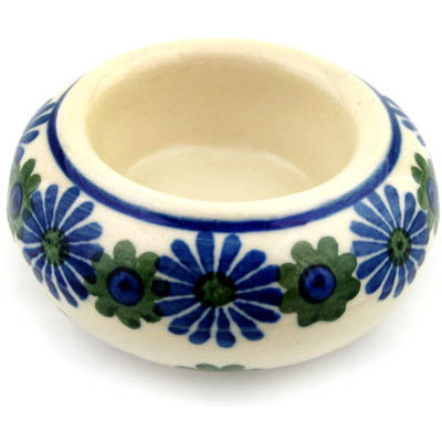"Polish Pottery Candle Holder 3"" Black Asters"