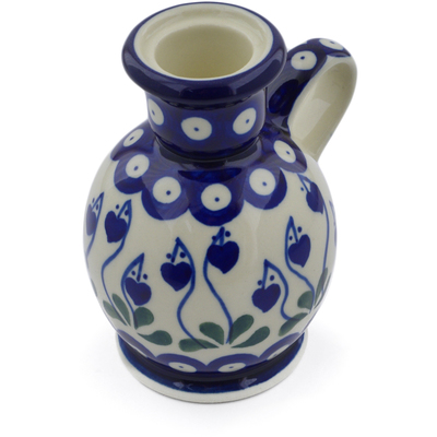 "Polish Pottery Candle Holder 4"" Bleeding Heart Peacock"