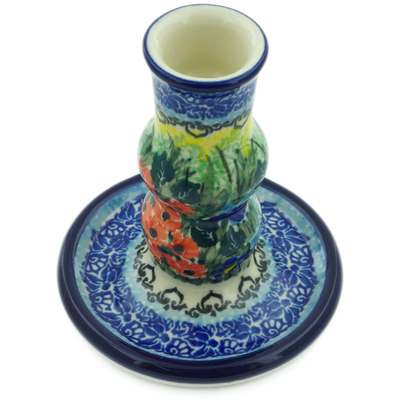 "Polish Pottery Candle Holder 4"" Splendid Meadow UNIKAT"