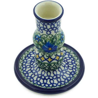 "Polish Pottery Candle Holder 4"" Wild Diamonds UNIKAT"