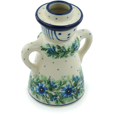 "Polish Pottery Candle Holder 5"" Blue Bell Wreath"