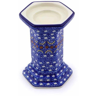 "Polish Pottery Candle Holder 6"" Blue Horizons"