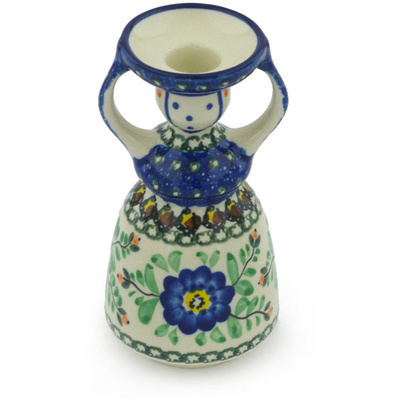 "Polish Pottery Candle Holder 6"" Cobalt Poppies UNIKAT"
