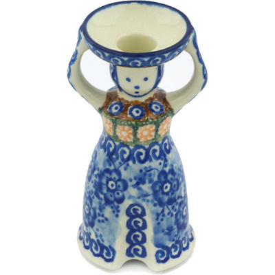 "Polish Pottery Candle Holder 6"" Dancing Blue Poppies UNIKAT"